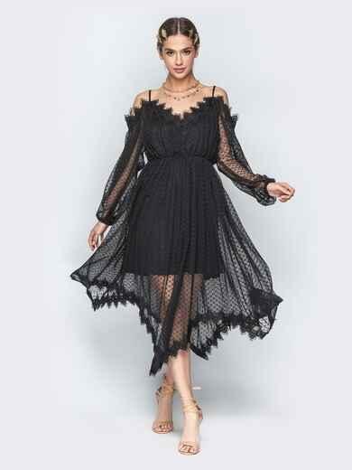 Асимметричное платье с кружевом и резинкой по талии чёрное - 21278, фото 1 – интернет-магазин Dressa