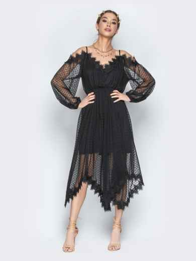 Асимметричное платье с кружевом и резинкой по талии чёрное - 21278, фото 2 – интернет-магазин Dressa