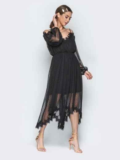 Асимметричное платье с кружевом и резинкой по талии чёрное - 21278, фото 3 – интернет-магазин Dressa