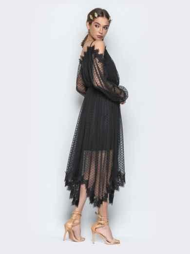 Асимметричное платье с кружевом и резинкой по талии чёрное - 21278, фото 4 – интернет-магазин Dressa