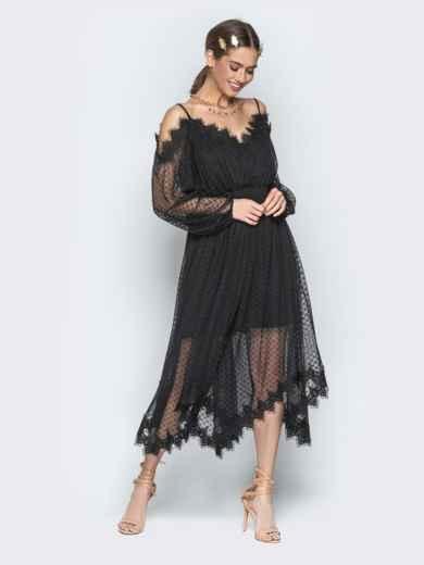 Асимметричное платье с кружевом и резинкой по талии чёрное - 21278, фото 5 – интернет-магазин Dressa