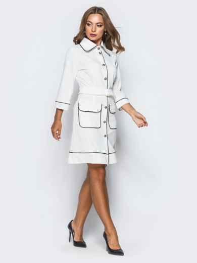 Белое платье с контрастной отстрочкой и функциональными пуговицами - 16942, фото 3 – интернет-магазин Dressa