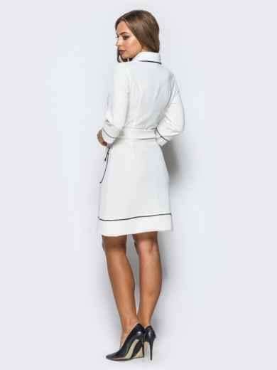 Белое платье с контрастной отстрочкой и функциональными пуговицами - 16942, фото 4 – интернет-магазин Dressa