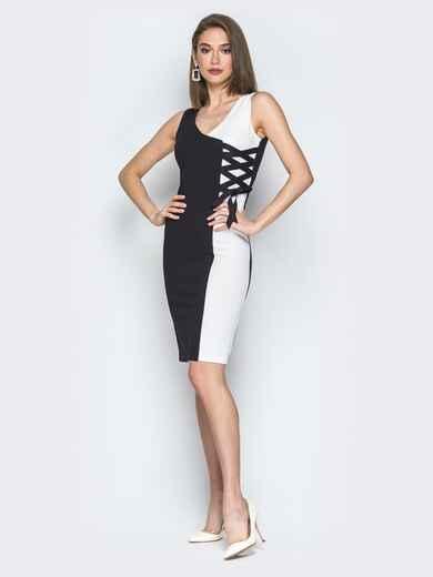 Чёрно-белое платье с декоративной шнуровкой - 19743, фото 2 – интернет-магазин Dressa