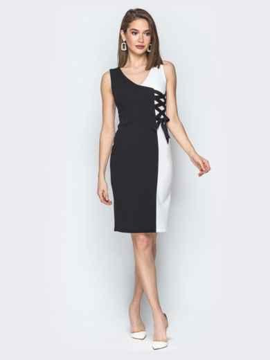 Чёрно-белое платье с декоративной шнуровкой - 19743, фото 1 – интернет-магазин Dressa