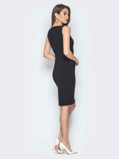 Чёрно-белое платье с декоративной шнуровкой - 19743, фото 3 – интернет-магазин Dressa