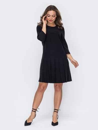 Черное платье со складками по низу 53560, фото 1