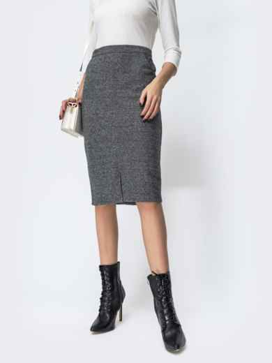 Серая юбка-карандаш с разрезом спереди 44168, фото 1