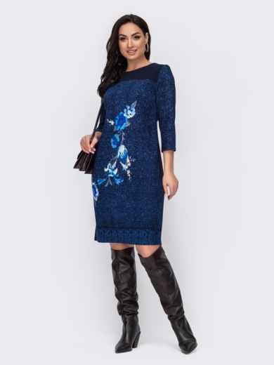 Приталенное платье-миди большого размера темно-синее 52714, фото 1