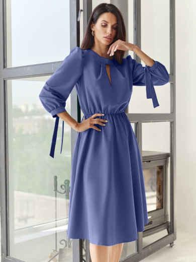 Синее платье-миди с вырезом и расклешенной юбкой 55195, фото 1