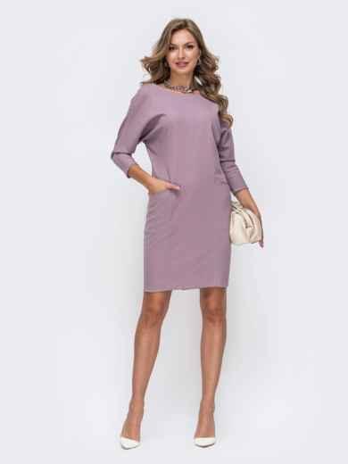 Фиолетовое платье с цельнокроеным рукавом и карманами по полочке 50326, фото 1