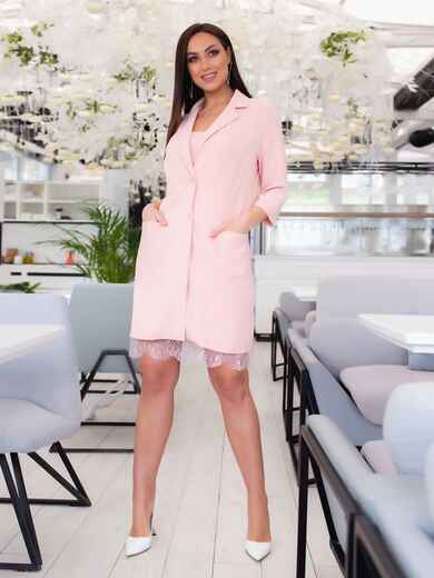 Комплект из платья на узких бретелях и жакета розовый 47864, фото 1