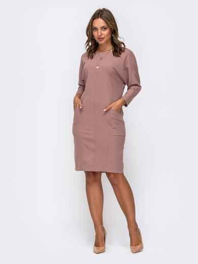 Платье цвета пудры с цельнокроеным рукавом и карманами по полочке 50325, фото 1