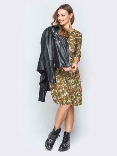 Принтованное платье с юбкой-плиссе хаки - 19584, фото 1 – интернет-магазин Dressa