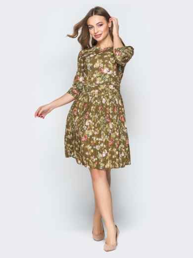 Принтованное платье с юбкой-плиссе хаки - 19584, фото 3 – интернет-магазин Dressa