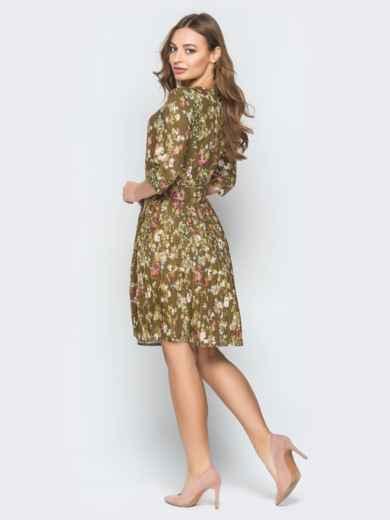 Принтованное платье с юбкой-плиссе хаки - 19584, фото 4 – интернет-магазин Dressa
