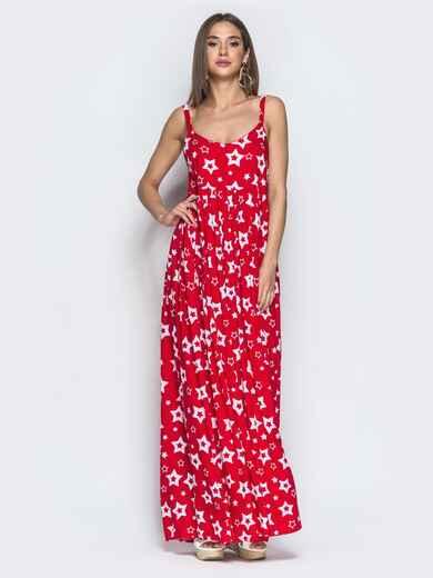 Принтованный сарафан красного цвета с завышенной талией 39593, фото 1