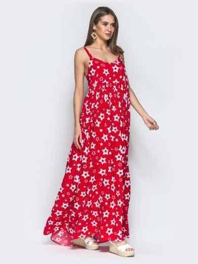 Принтованный сарафан красного цвета с завышенной талией - 39593, фото 2 – интернет-магазин Dressa
