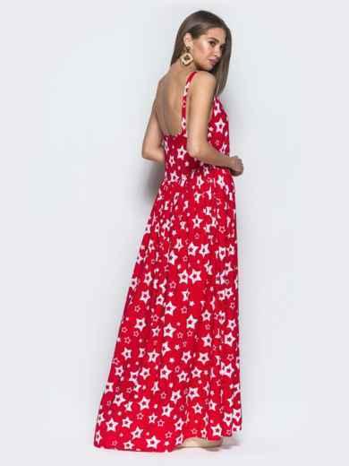 Принтованный сарафан красного цвета с завышенной талией - 39593, фото 3 – интернет-магазин Dressa