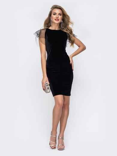 Приталенное платье с V-вырезом по спинке чёрное 42626, фото 1