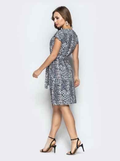 Прямое платье с анималистичным принтом из софта серое - 22293, фото 3 – интернет-магазин Dressa