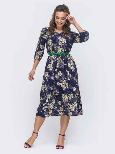Расклешенное платье с цветочным принтом темно-синее 46962, фото 1