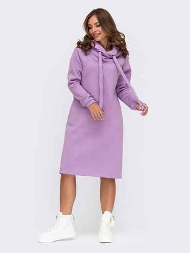 Сиреневое платье на флисе в стиле oversize с капюшоном 55485, фото 1