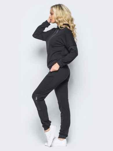 Спортивный костюм с декоративными молниями и капюшоном черный - 16530, фото 2 – интернет-магазин Dressa