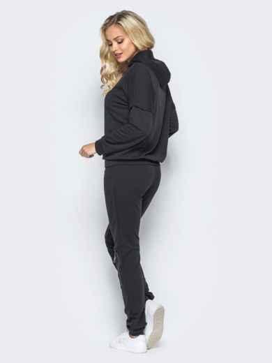 Спортивный костюм с декоративными молниями и капюшоном черный - 16530, фото 3 – интернет-магазин Dressa