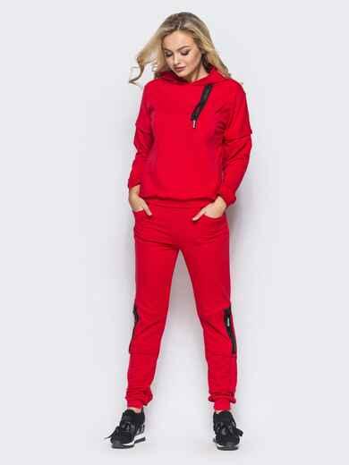 Спортивный костюм с декоративными молниями и капюшоном красный - 16529, фото 1 – интернет-магазин Dressa