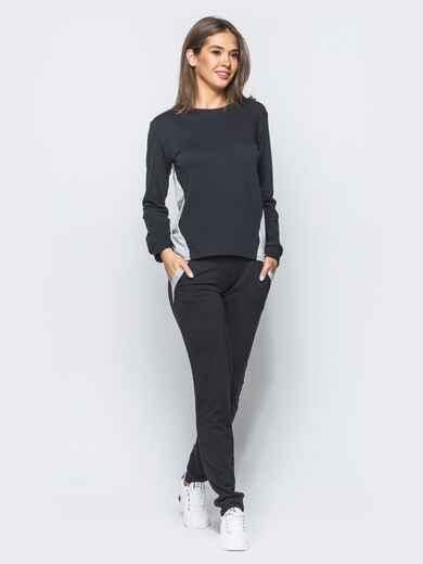 Спортивный костюм с функциональной молнией на спинке черно-белый - 17101, фото 1 – интернет-магазин Dressa