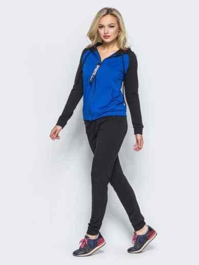 Спортивный костюм с синей кофтой на молнии - 16526, фото 2 – интернет-магазин Dressa