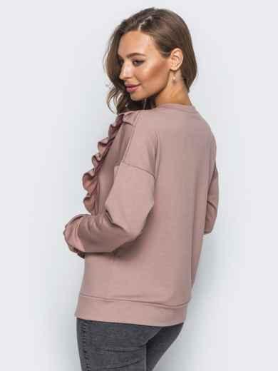 Свитшот пудрового цвета с рюшей на полочке - 16509, фото 3 – интернет-магазин Dressa