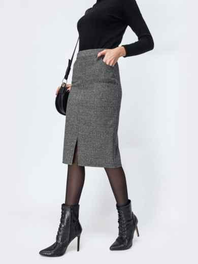 Тёмно-серая юбка-карандаш с разрезом спереди 44169, фото 2