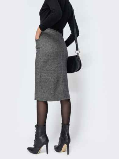 Тёмно-серая юбка-карандаш с разрезом спереди 44169, фото 3