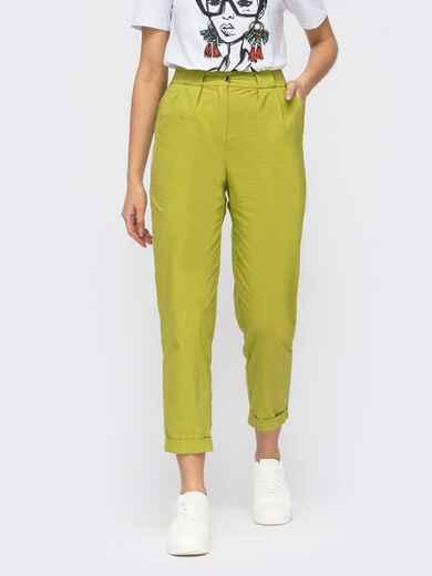 Зелёные укороченные брюки с завышенной талией 53905, фото 1