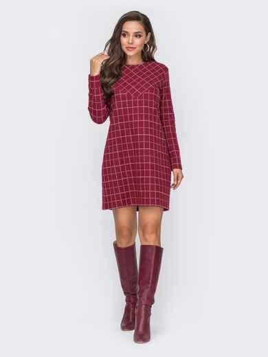 Красное платье прямого кроя из жаккарда в клетку 50831, фото 1