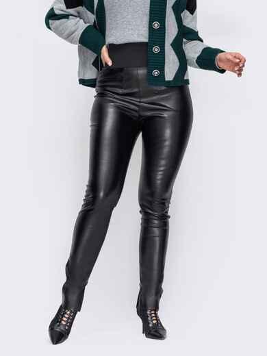 Облегающие брюки большого размера из эко-кожи черные 52800, фото 1