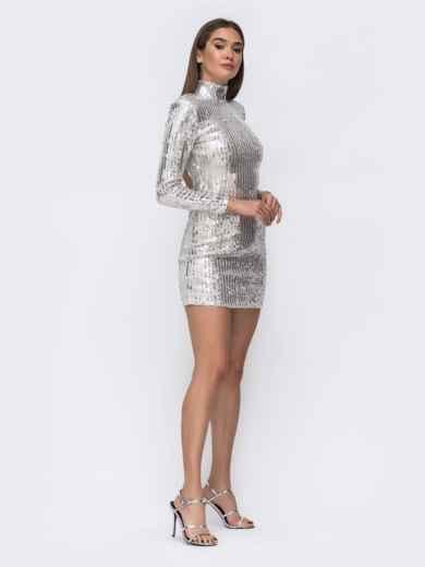 Платье-мини с пайетками и открытой спиной серебристое - 43009, фото 2 – интернет-магазин Dressa