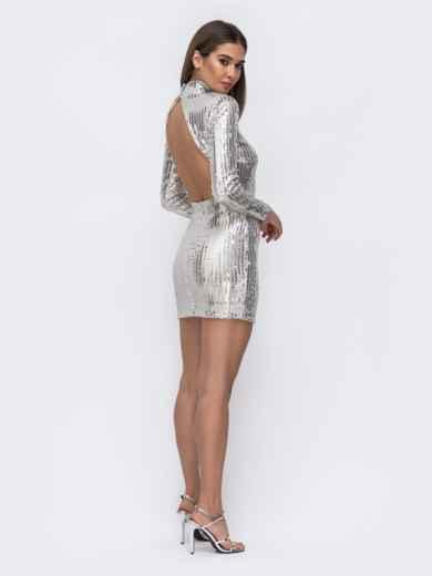 Платье-мини с пайетками и открытой спиной серебристое - 43009, фото 3 – интернет-магазин Dressa