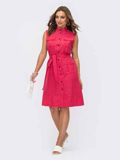 Платье-рубашка прямого кроя розовое 54161, фото 3