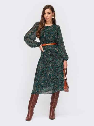 Шифоновое платье с принтом и завышенной талией зелене 55521, фото 1