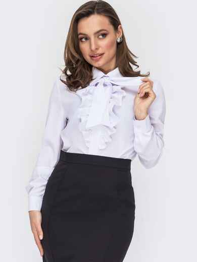 Белая блузка с жабо и съемным галстуком 53081, фото 1