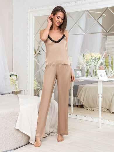 Бежевая пижама из топа с кружевом и штанов - 20478, фото 1 – интернет-магазин Dressa