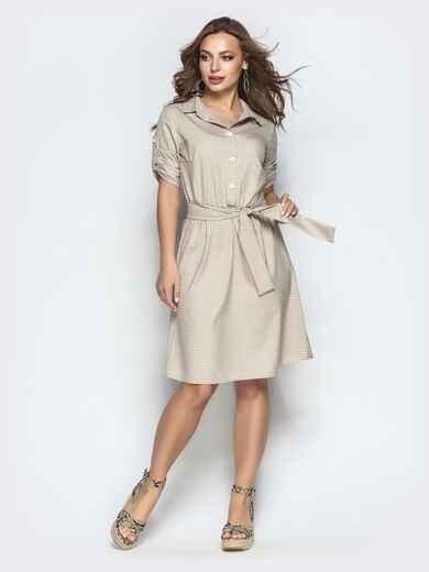 Бежевое платье-рубашка в клетку со шлевками на рукавах 22035, фото 1