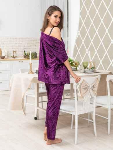 Брючный комплект из велюра с шелковым топом фиолетовый - 20476, фото 2 – интернет-магазин Dressa
