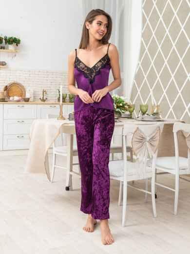 Брючный комплект из велюра с шелковым топом фиолетовый - 20476, фото 3 – интернет-магазин Dressa