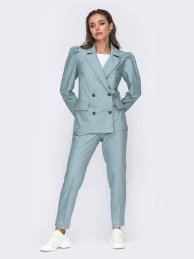 Брючный комплект с двубортным пиджаком мятный 50663, фото 2