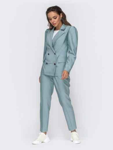Брючный комплект с двубортным пиджаком мятный 50663, фото 3