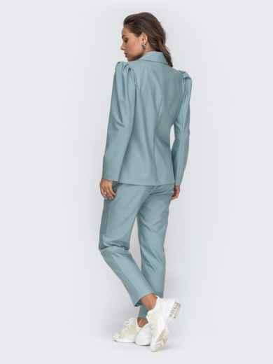 Брючный комплект с двубортным пиджаком мятный 50663, фото 6